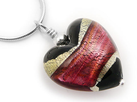 Murano Glass Heart Pendant - Jet and Ruby - Snake Chain
