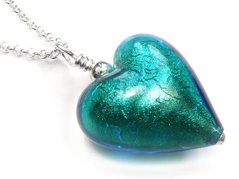 Murano Glass Heart Pendant - Kingfisher - Belcher Chain