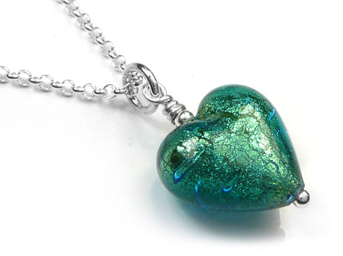 Murano Glass Heart Pendant - Kingfisher Small