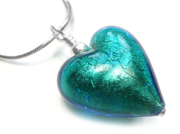 Murano Glass Heart Pendant - Kingfisher - Snake Chain