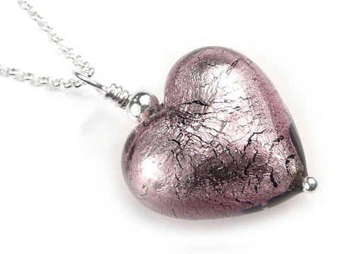 Murano Glass Heart Pendant - Light Amethyst - Belcher Chain