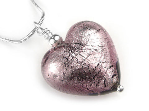 Murano Glass Heart Pendant - Light Amethyst - Snake Chain