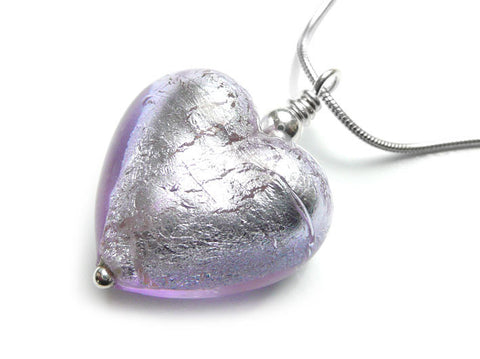 Murano Glass Heart Pendant - Lilac - Snake Chain