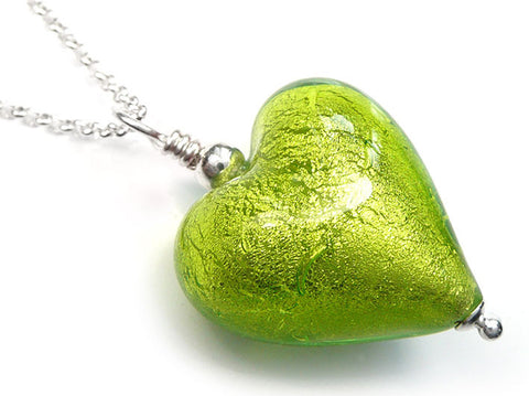 Murano Glass Heart Pendant - Lime - Belcher Chain