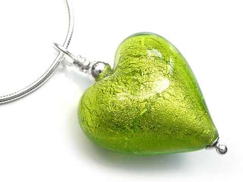 Murano Glass Heart Pendant - Lime - Snake Chain