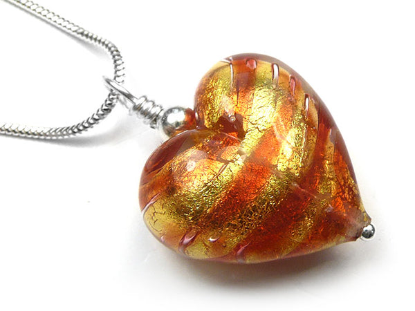 Murano Glass Heart Pendant - Peach Melba
