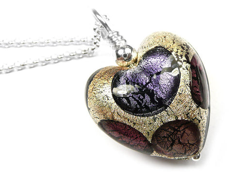Murano Glass Heart Pendant - Purple Spot