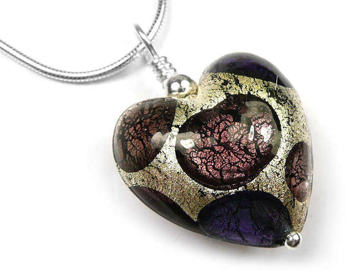 Murano glass heart pendant necklace purple spot pattern murano glass heart pendant purple spot mozeypictures Image collections