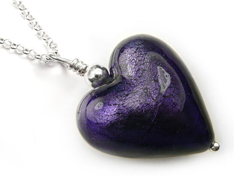 Murano Glass Heart Pendant - Purple Velvet - Belcher Chain