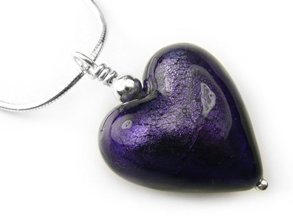 Murano Glass Heart Pendant - Purple Velvet - Snake Chain