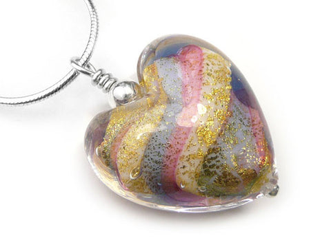 Murano Glass Heart Pendant - Rainbow - Snake Chain