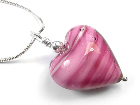 Murano Glass Heart Pendant - Raspberry Sorbet