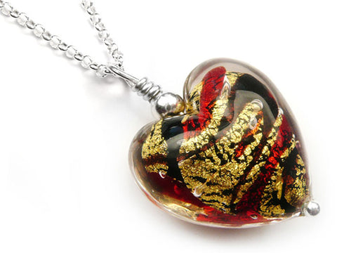 Murano Glass Heart Pendant - Regal - Belcher Chain