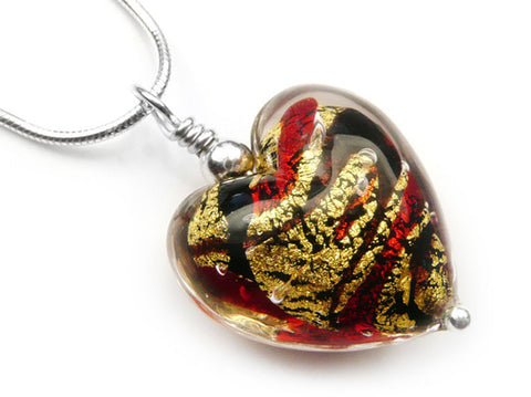 Murano Glass Heart Pendant - Regal - Snake Chain