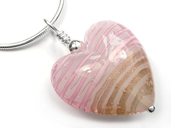 Murano Glass Heart Pendant - Rose and Aventurine - Snake Chain