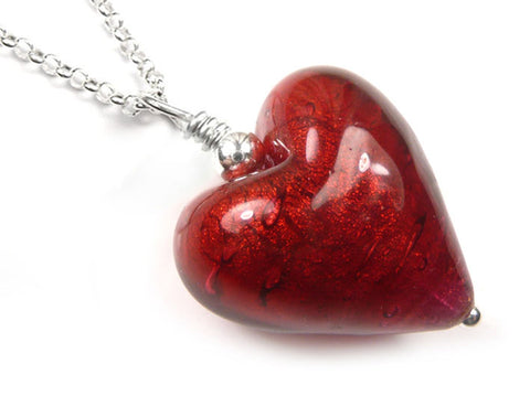 Murano Glass Heart Pendant - Rubino