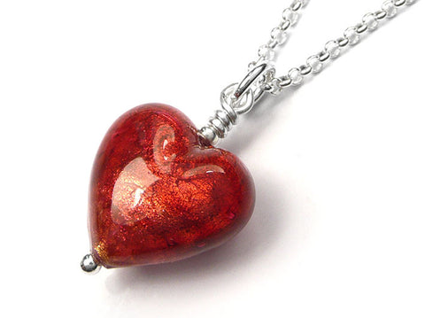 Murano Glass Heart Pendant - Rubino Small