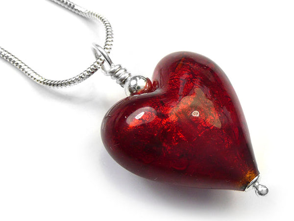 Murano Glass Heart Pendant - Ruby