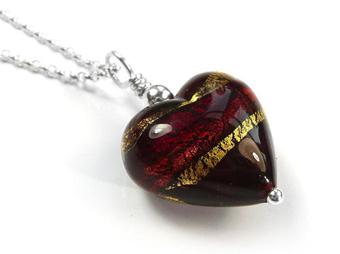 Murano Glass Heart Pendant - Dark Ruby Gold