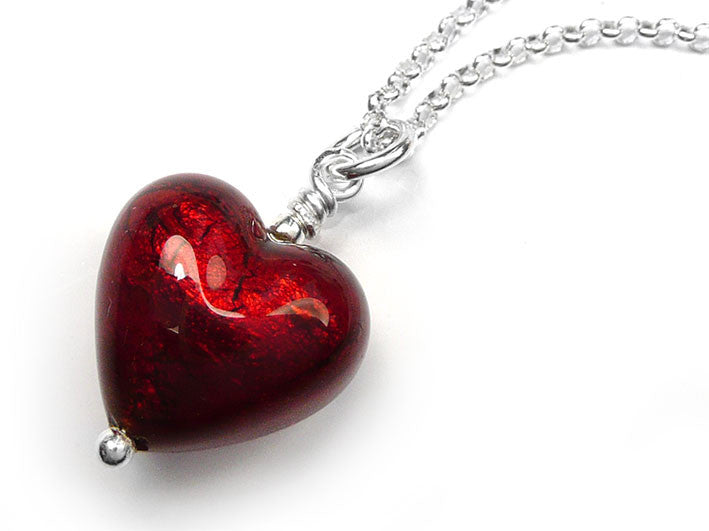 Murano Glass Small Heart Pendant Necklace Ruby Red