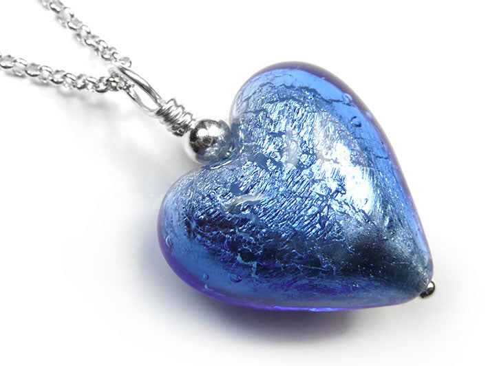 Murano glass heart pendant necklace sapphire blue murano glass heart pendant sapphire mozeypictures Choice Image