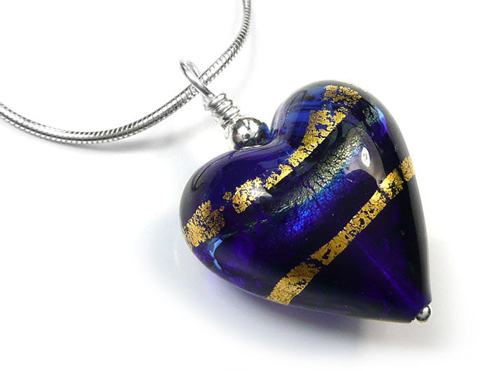 Murano glass heart pendant necklace sapphire blue gold stipes murano glass heart pendant sapphire gold mozeypictures Choice Image