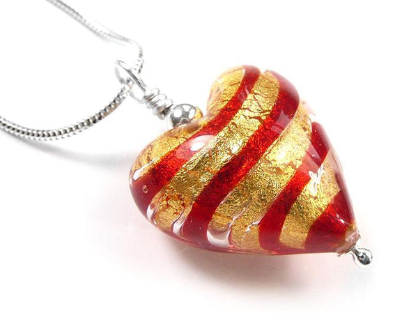 Murano Glass Heart Pendant - Scarlet and Gold