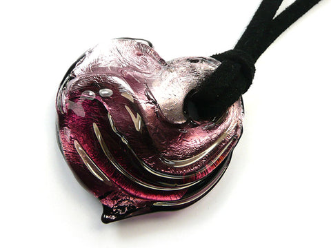Murano Glass Heart Pendant - Shades of Amethyst