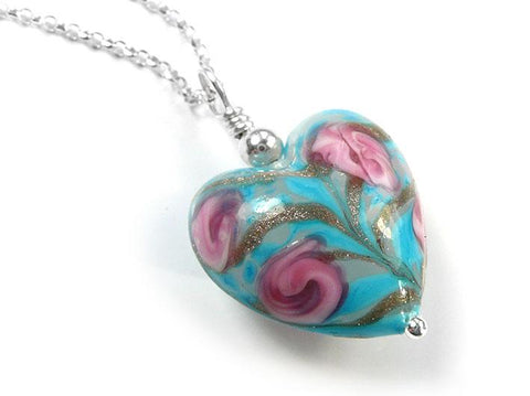 Murano Glass Heart Pendant - Soft Blue Rose