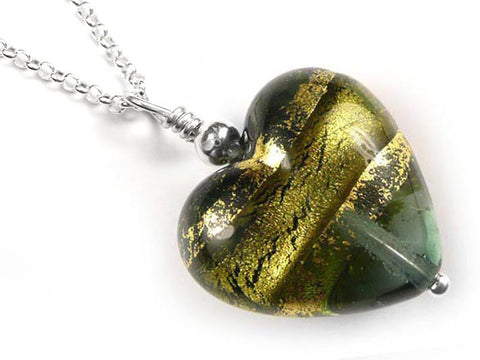 Murano Glass Heart Pendant - Storm Gold - Belcher Chain