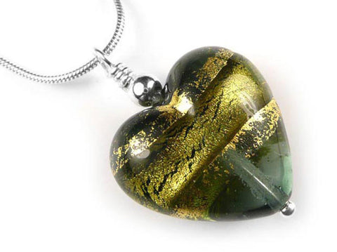 Murano Glass Heart Pendant - Storm Gold - Snake Chain