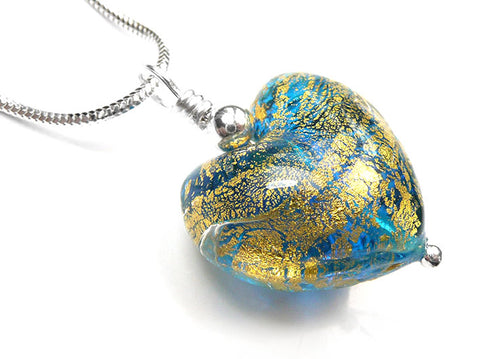 Murano Glass Heart Pendant - Teal Gold