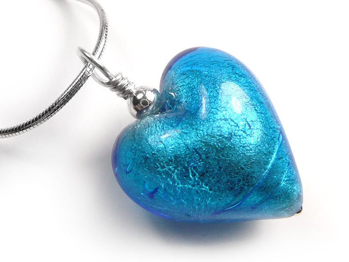 Murano glass heart pendant necklace turquoise murano glass heart pendant turquoise snake chain mozeypictures Choice Image