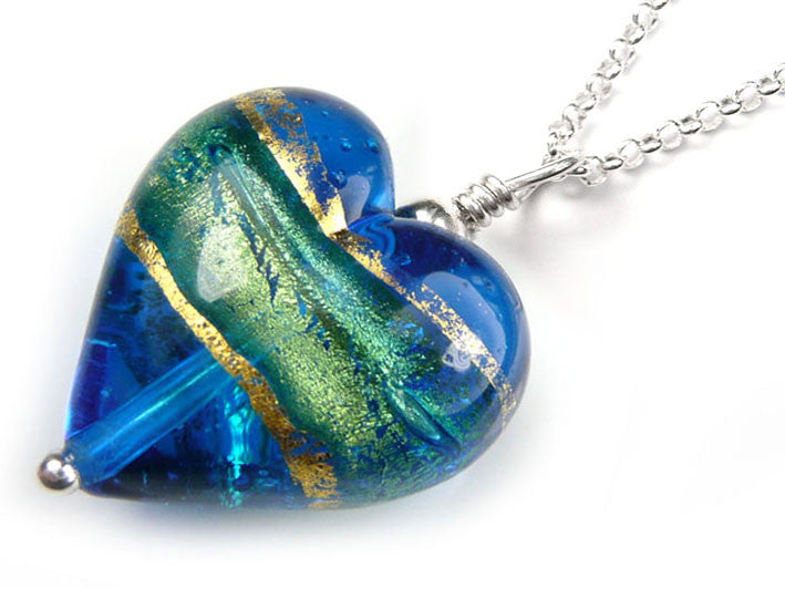 Murano glass heart pendant necklace turquoise blue murano glass heart pendant turquoise blue belcher chain mozeypictures Image collections