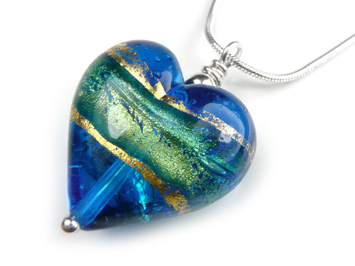Murano glass heart pendant necklace turquoise blue murano glass heart pendant turquoise blue snake chain mozeypictures Choice Image