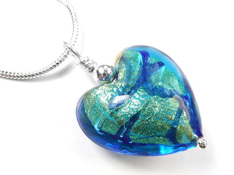 Murano Glass Heart Pendant - Turquoise Gold