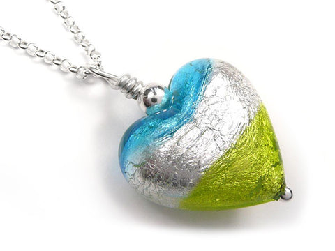 Murano Glass Heart Pendant - Turquoise and Chartreuse - Belcher Chain