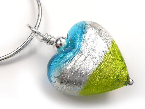 Murano Glass Heart Pendant - Turquoise and Chartreuse - Snake Chain