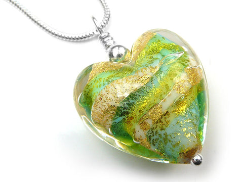 Murano Glass Heart Pendant - Verde Lime