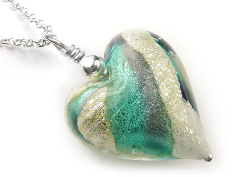 Murano Glass Heart Pendant - Verde and Purple Velvet