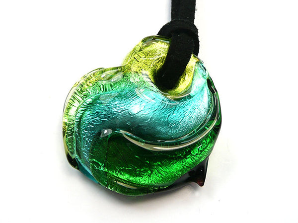 Murano Glass Heart Pendant - Verde
