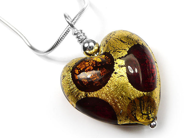 Murano Glass Heart Pendant - Warm Spot
