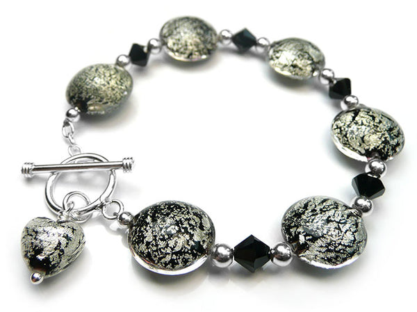 Murano Glass Lentil Bracelet - Black and Silver