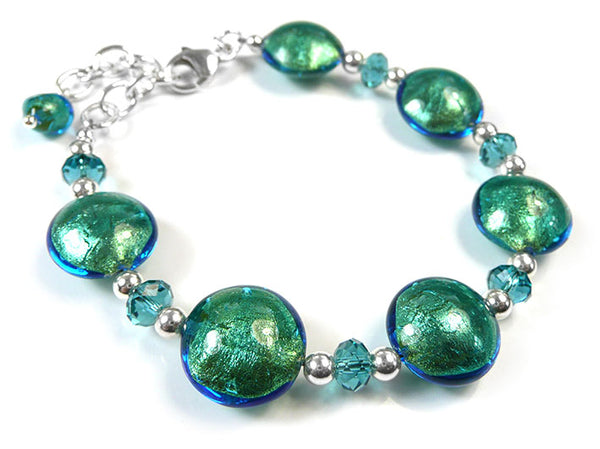 Murano Glass Lentil Bracelet - Kingfisher