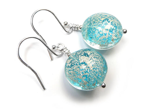 Murano Glass Lentil Earrings - Aqua and White Gold