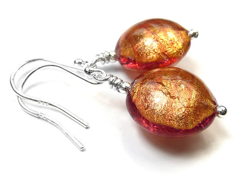 Murano Glass Lentil Earrings - Copper