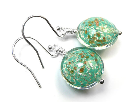 Murano Glass Lentil Earrings - Fern and White Gold