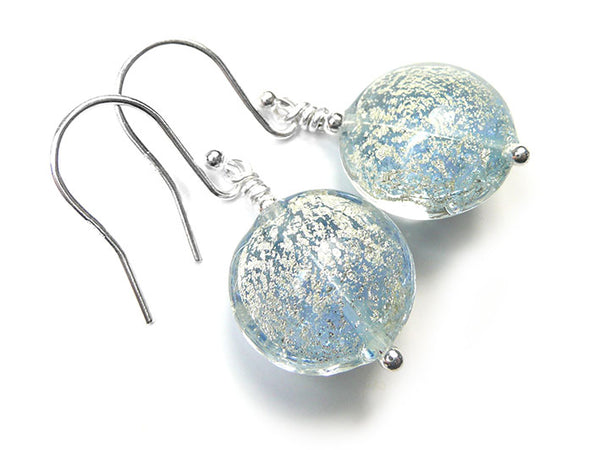 Murano Glass Lentil Earrings - Ice Blue and White Gold