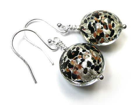 Murano Glass Lentil Earrings - Luna White Gold