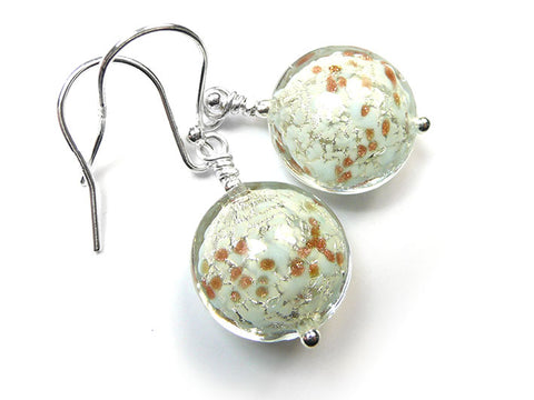 Murano Glass Lentil Earrings - Palest Blue and White Gold